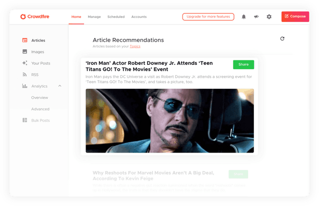 Article curation crowdfire feature