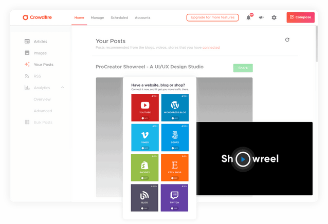 Publish content on your website from crowdfire