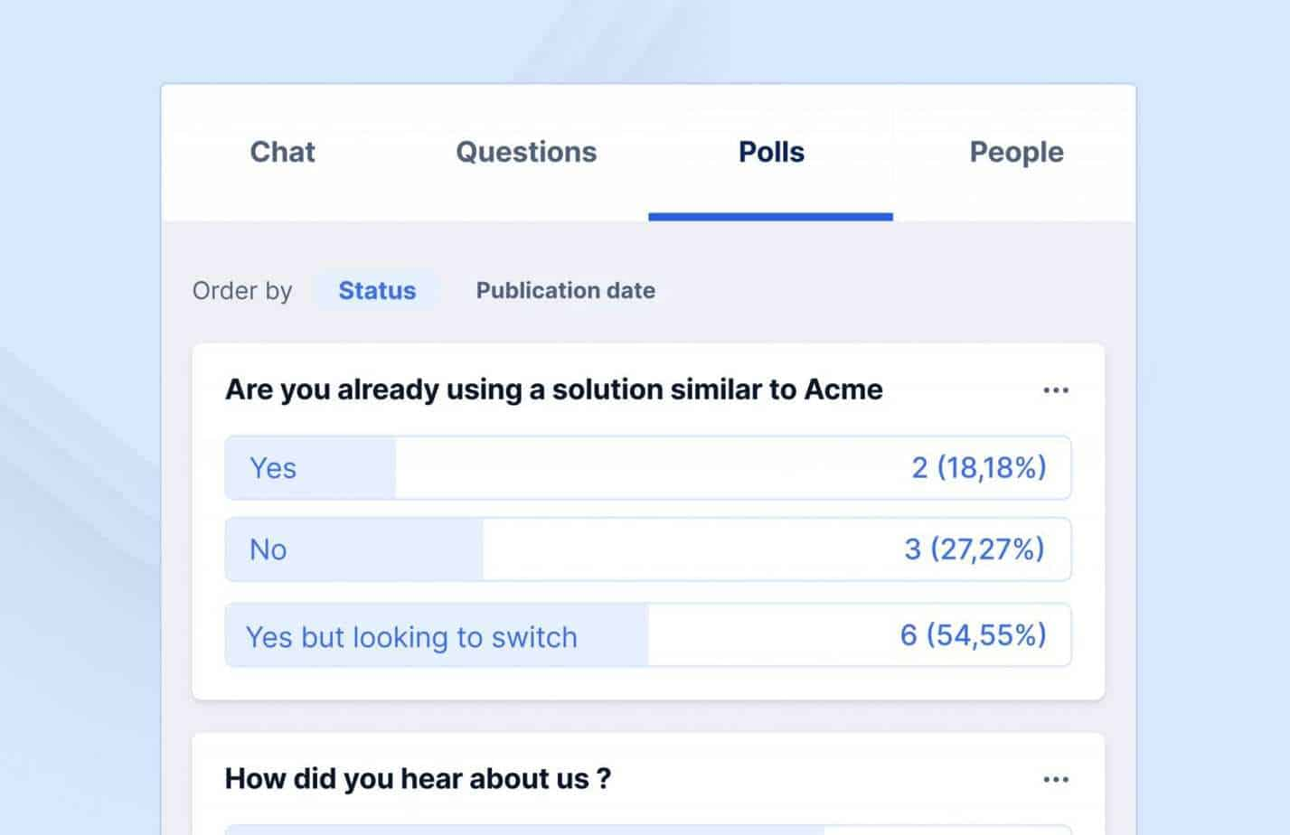 you can include polls during the webinar