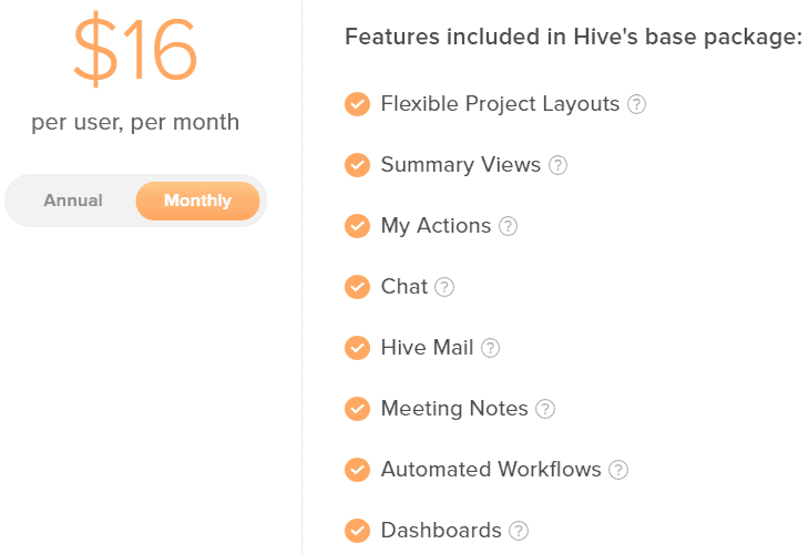 Hive pricing