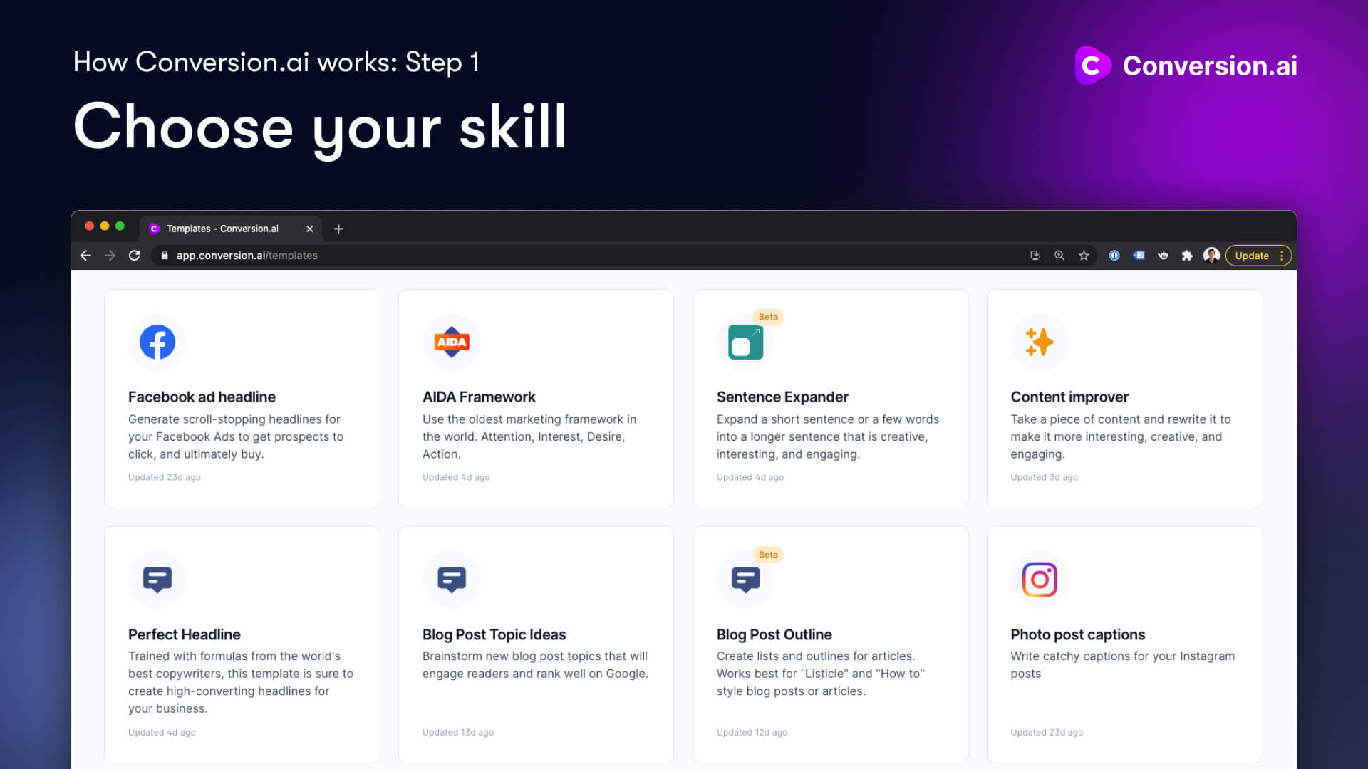 Step 1 choose your skill