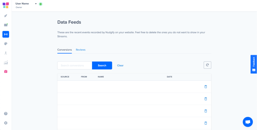 Nudgify data feeds feature